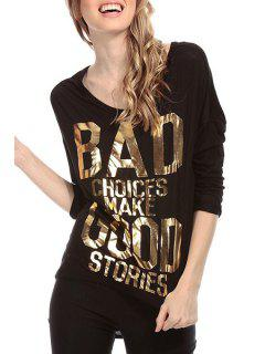 Gold Letter Print Backless 3/4 Sleeve T-Shirt - Black Xl