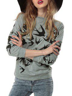 Black Swallow Print Long Sleeve Sweatshirt - Gray M