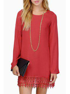 Solid Color Lace Spliced Chiffon Dress - Red S