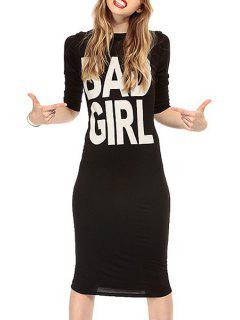 Letter Print Back Knot Half Sleeve Dress - Black S