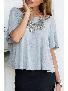 Gray Backless Short Sleeve T-Shirt - Gray L