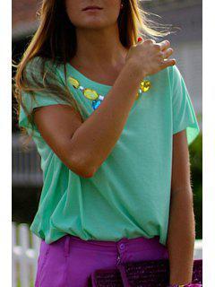 Verde Diamante Camiseta De Manga Corta - Verde L