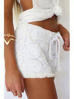 White Lace Elastic Waist Drawstring Shorts - White