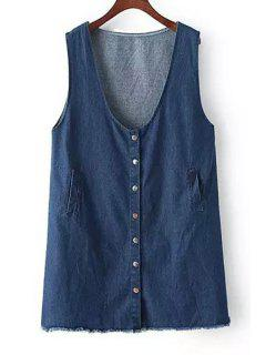 Pure Color Sleeveless Denim Dress - Deep Blue