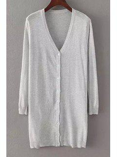 Pure Color V Neck Nine-Minute Sleeve Cardigan - Light Gray