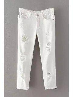Pure Color Narrow Feet Denim Capri Pants - White L