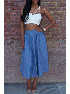 Spaghetti Strap Cross Backless Tube Top + Solid Color Skirt - Blue And White L