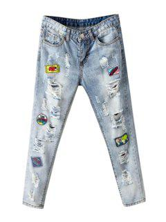 Broken Hole Embroidery Narrow Feet Jeans - Azure 30