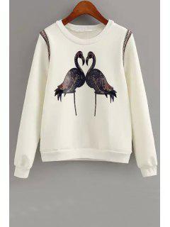 Crane Print Long Sleeve Sweatshirt - White M