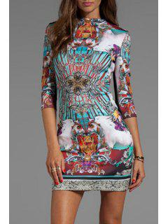 Round Neck Colorful Abstract Print Dress - M