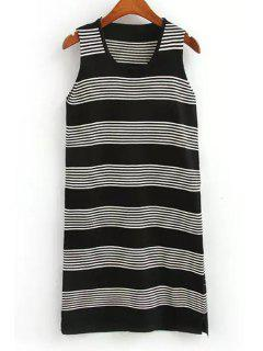Striped Scoop Neck Sweater Sundress - Black
