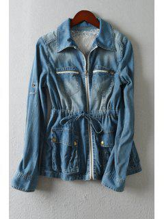 Skull Skeleton Pattern Bleach Wash Denim Coat - Blue
