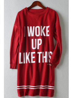 Letter Pattern Loose-Fitting Long T-Shirt - Red L