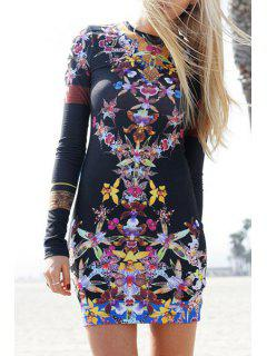 Long Sleeve Jewel Neck Floral Print Dress - Black L
