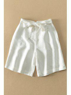 Bowknot Embellished White Fifth Pants - White S