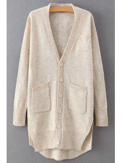 Single-Breasted Side Slit Long Sleeve Cardigan - Off-white
