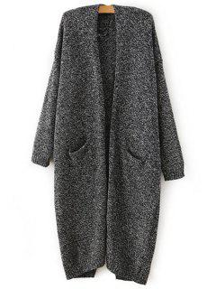 Color Mixed Back Slit Long Sleeve Cardigan - Gray