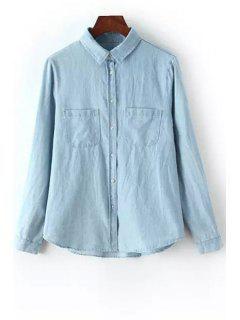 Pocket Bleach Wash Long Sleeve Shirt - Light Blue M