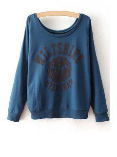 Scoop Neck Color Block Letter Print Sweatshirt - Purplish Blue