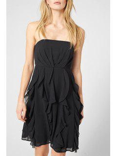 Solid Color Strapless Chiffon Dress - Black 2xl