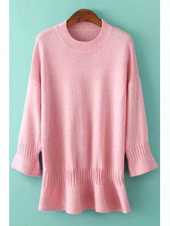 Round Neck Solid Color Bell Sleeve Dress - Pink