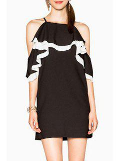 Color Block Cami Cut Out Dress - White And Black 2xl