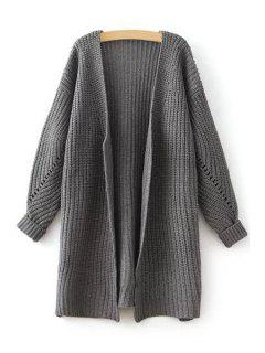 Side Slit Openwork Long Sleeve Cardigan - Gray