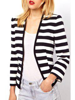 Striped Collarless Long Sleeve Coat - White And Black M