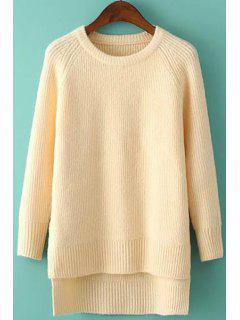 High Low Side Slit Long Sleeve Sweater - Apricot