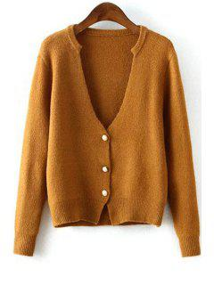 Deep V Neck Solid Color Button Fly Cardigan - Coffee