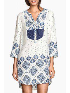 Blue Print Irregular Hem Shirt Dress - White L