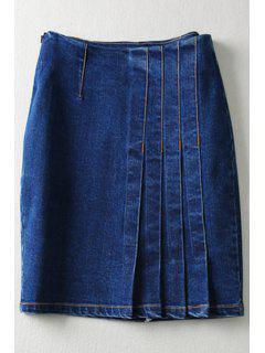 Pure Color High Waisted Denim Skirt - Deep Blue L