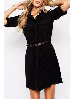 Shirt Collar Draped Sleeve Chiffon Dress - Black L