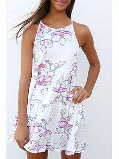 Spaghetti Strap Flounce Floral Print Dress - White