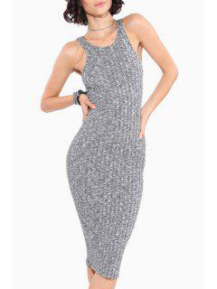 Scoop Neck Fitted Sleeveless Knitted Dress - Light Gray 2xl