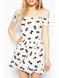 Slash Neck Black Bowknot Print Short Sleeve Dress - White L