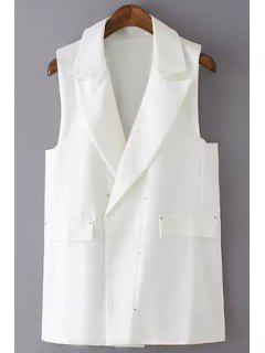 Solid Color Lapel Waistcoat - White M