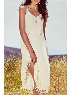 Pure Color Cami Fringe Dress - Apricot L