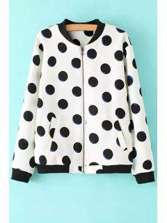 Polka Dot Fleece Lining Suede Coat - White S