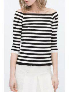 Slash Neck Stripe High Low 3/4 Sleeve T-Shirt - White And Black