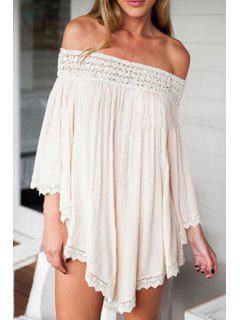 Pure Color Slash Neck 3/4 Sleeve Dress - Apricot S