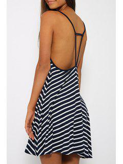 Striped Cami Backless Dress - White And Black Xl