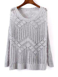 Openwork See-Through Sweater - Gray
