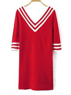 V-Neck White Stripe Half Sleeve Dress - Red