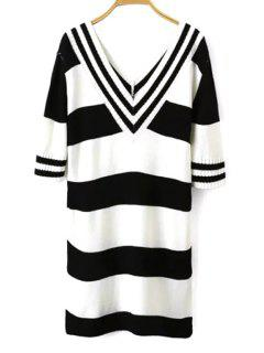 White Black Stripe Half Sleeve Dress - White And Black