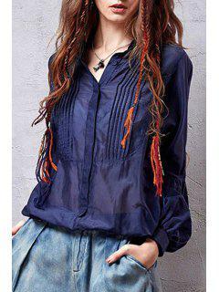Pleated Loose-Fitting Blue Shirt - Deep Blue