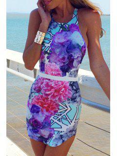 Flower Print Sleeveless Bodycon Dress - Deep Blue L