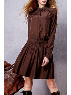 Long Sleeve Solid Color Tunic Dress - Coffee S