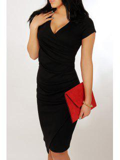 Plunging Neck Ruched Bandage Dress - Black L