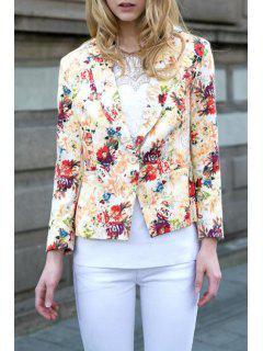 Floral Lapel Neck Long Sleeve Blazer - Beige Xl